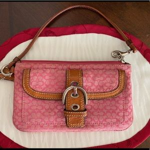 Coach Pink and Tan Wristlet Wallet
